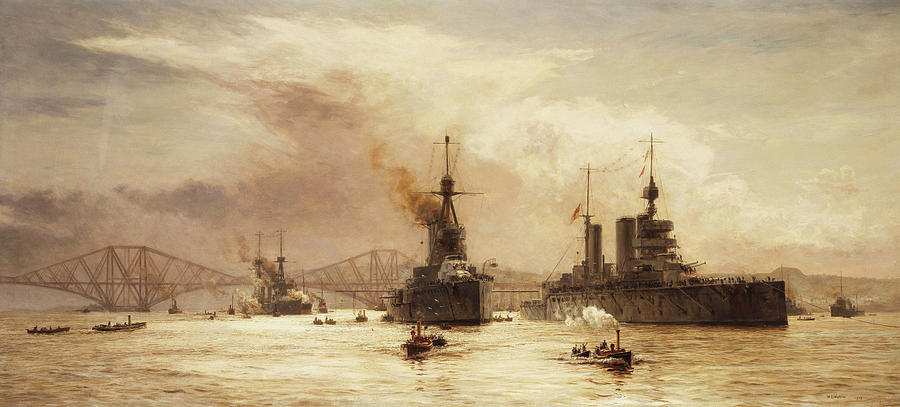 The First Battle Squadron Leaving The Forth For The Battle Of Jutland Painting by William Lionel Wyllie