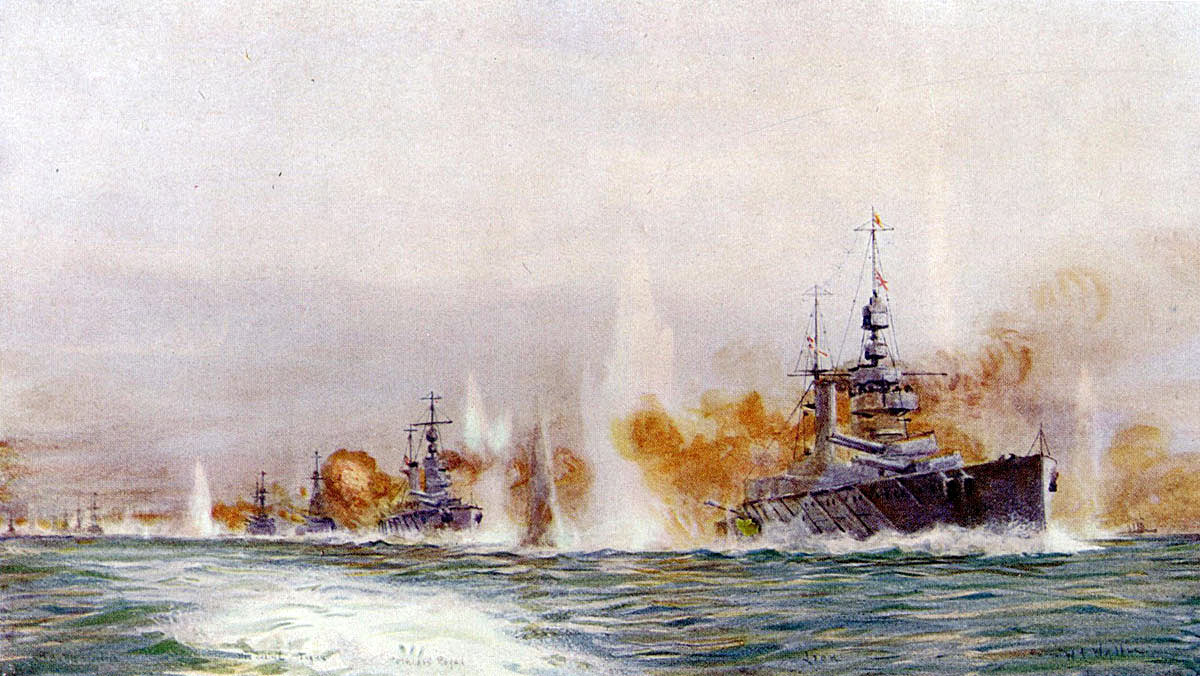 British battle cruisers opening fire in the opening stages of the Battle of Jutland on 31st May 1916 Painting by William Lionel Wyllie