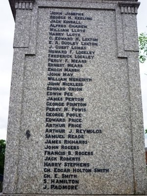 The panel on Cannock War Memorial recording the death in action of Howard Frank Lockley