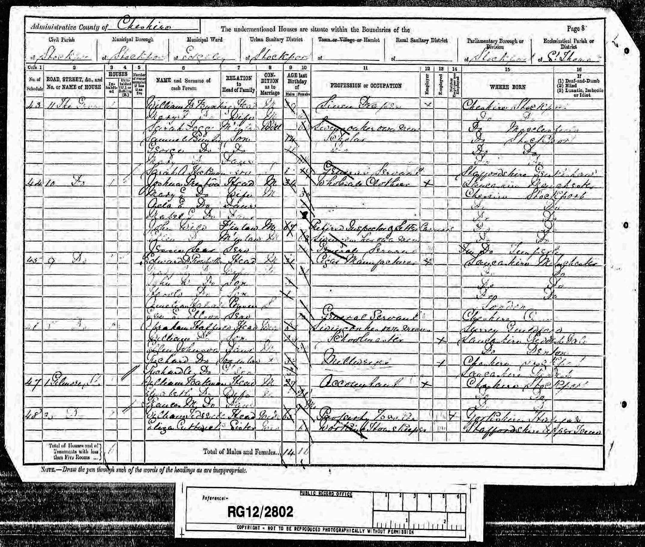Extract from the 1891 census showing Sarah Hickman working as a servant to the Bunting family