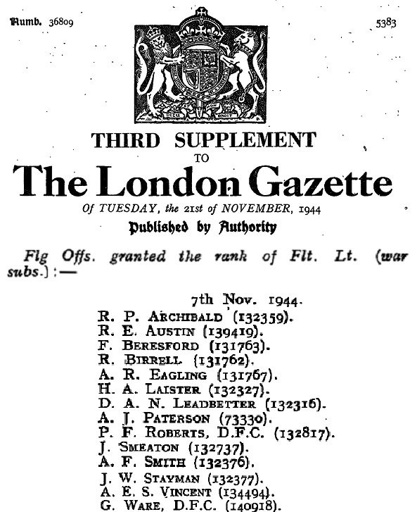 "Notification of Frank Beresford's promotion from Flying Officer to Flight Lieutenant listed in the ""London Gazette"" edition of 21 November 1944"