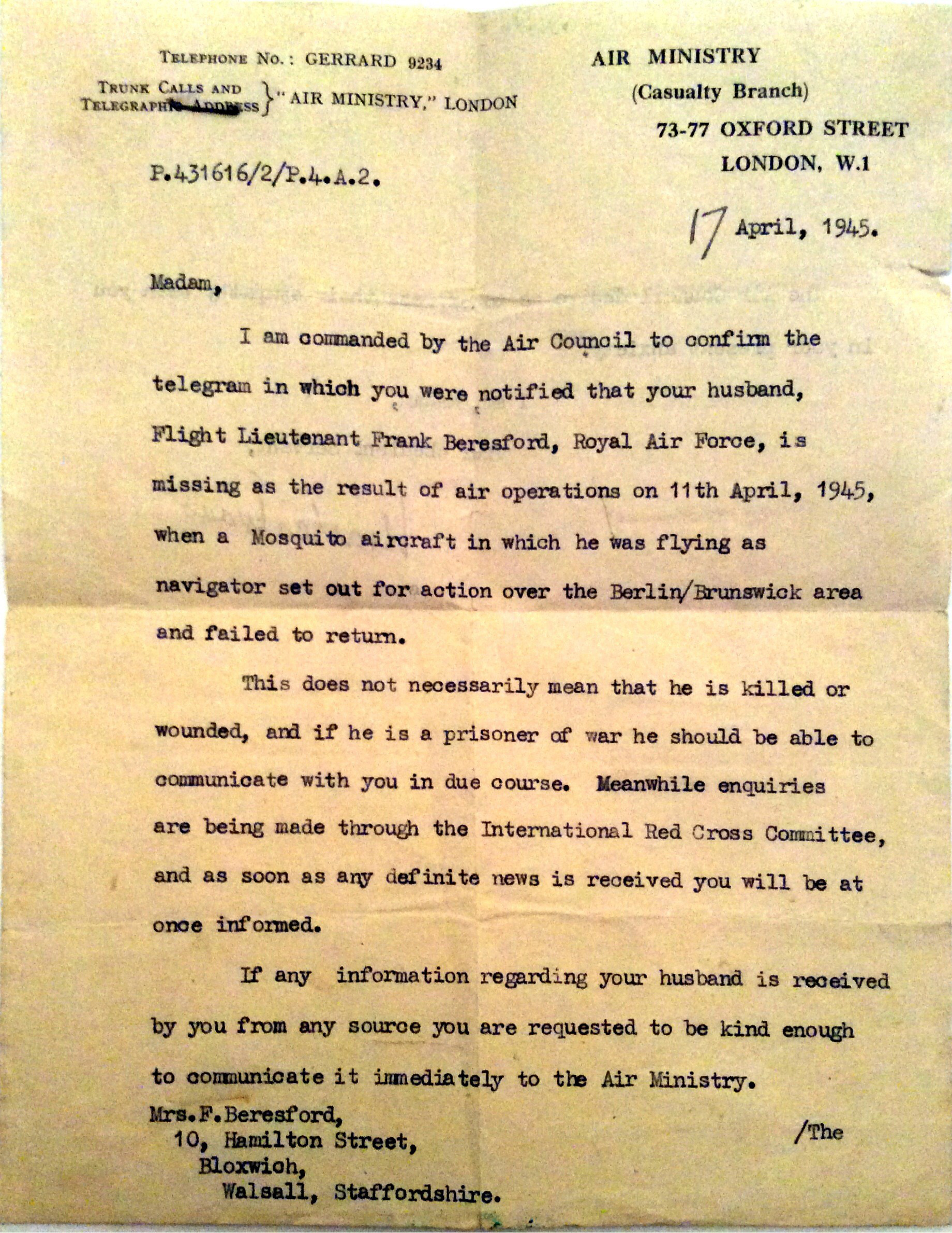 First page of the Air Ministry letter dated 17th April 1945