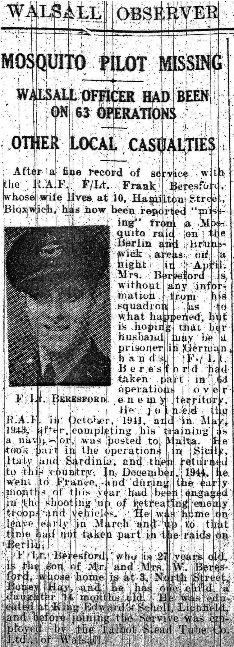 Extract from the Walsall Observer edition dated 5 May 1945