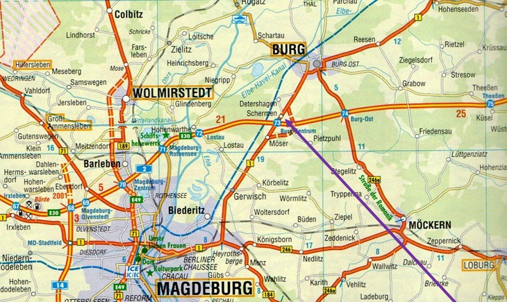Map showing Schermen, near Magdebeurg, Germany