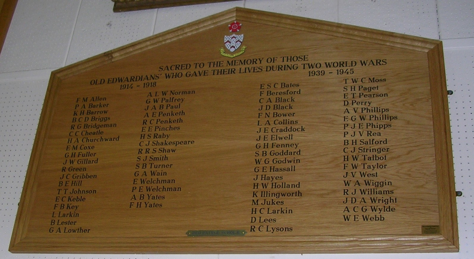 Panel in Bader Hall at King Edward VI School, Lichfield