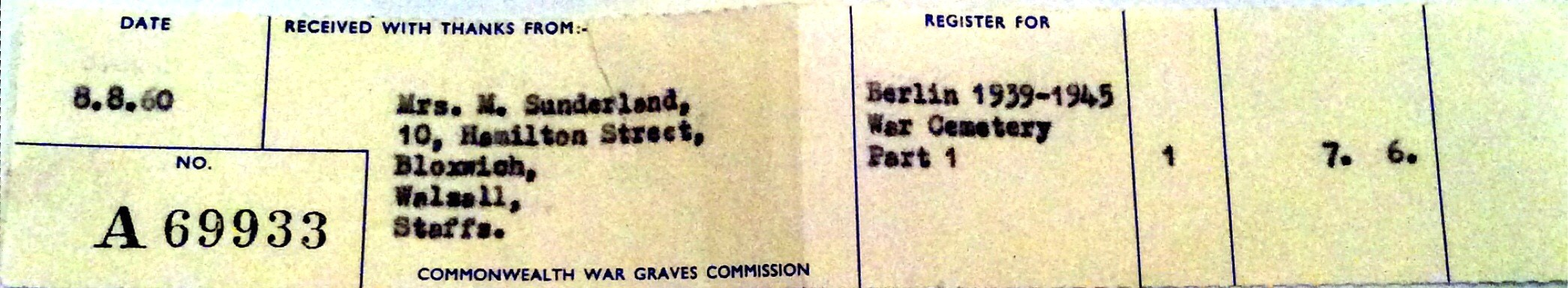 Receipt for the entry in the 1960 Memorial Register for the Berlin War Cemetery
