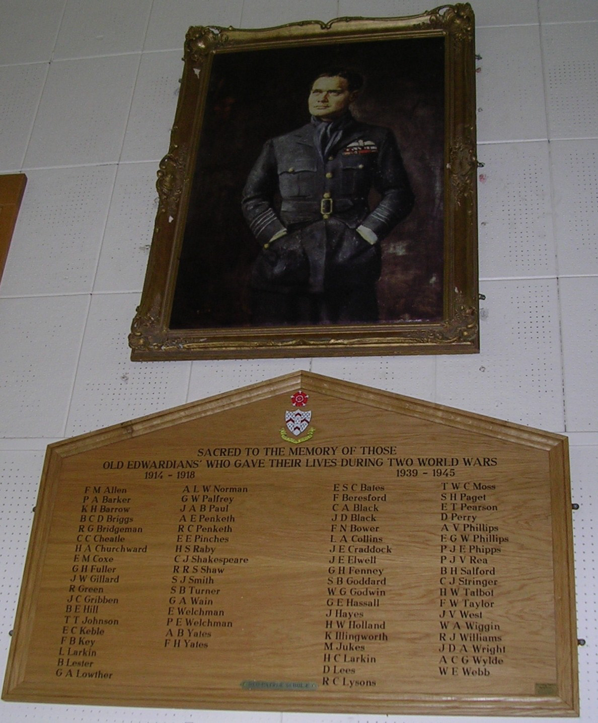 Portrait of Douglas Bader in Bader Hall at King Edward School, Lichfield