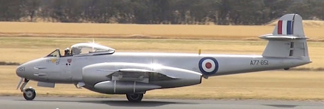 The world's only operational Gloster Meteor F8 jet fighter, shown here during a display at the Temora Aviation Museum in Australia. The aircraft is painted in the colours of the aircraft flown by Sgt George Hale during the Korean War.