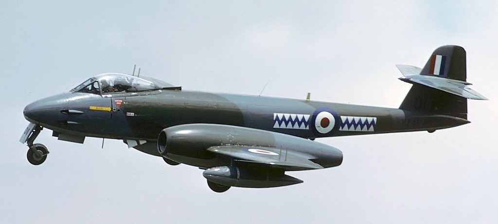 R.A.F. Gloster Meteor F8 seen arriving for the 1986 Royal International Air Tattoo