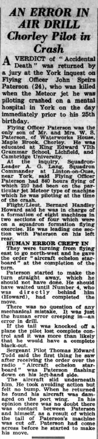 Article from the 14 March 1952 edition of the Lichfield Mercury