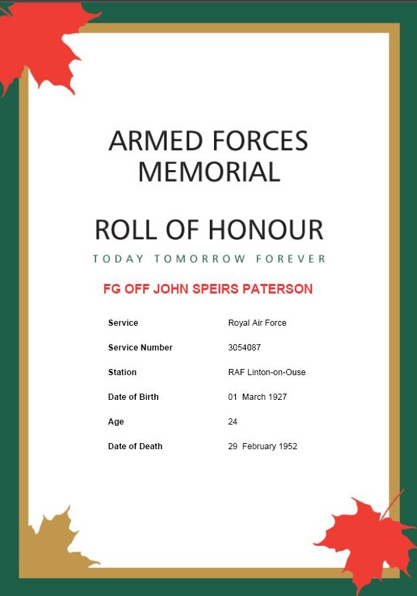 Armed Forces - Roll of Honour Memorial