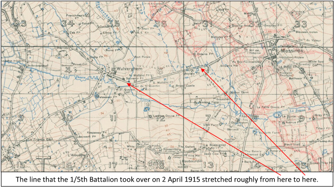 Extract from the 1:20,000, 1916 trench map 28 SW, edition 3D, showing the area between Messines and Wulverghem