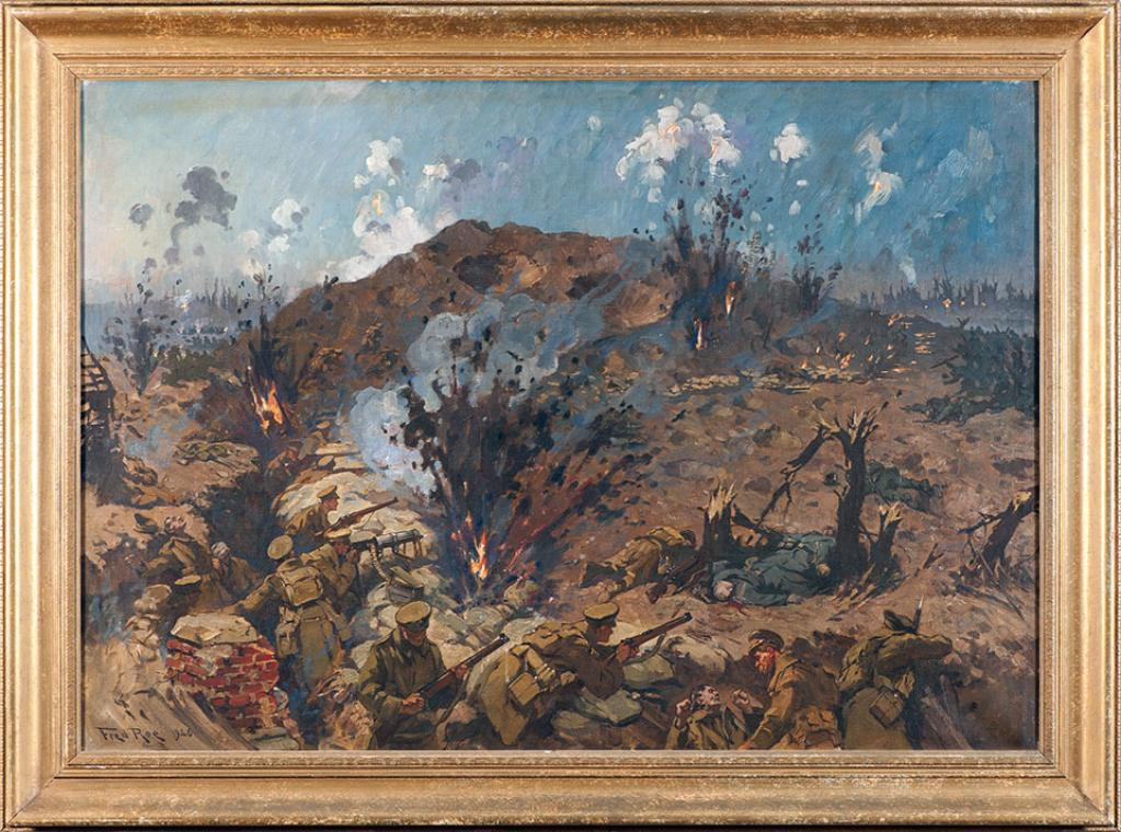 THE DEFENCE OF HILL 60 by Frederick Roe This 1926 painting depicts one of the many German assaults that took place at Hill 60 during the late afternoon of 20 April 1915.