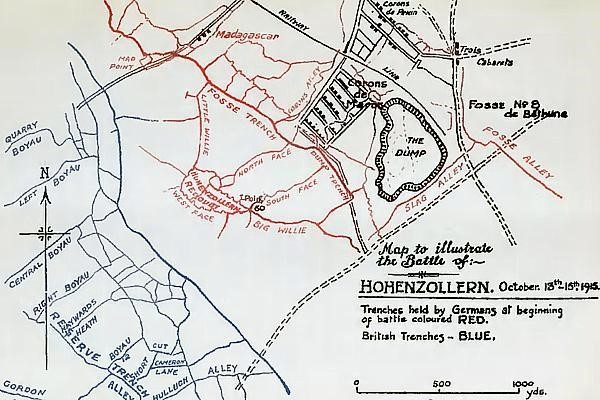 Map showing the trenches close to Hohenzollern Redoubt