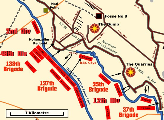 Map showing the deployment of forces at Hohenzollern Redoubt