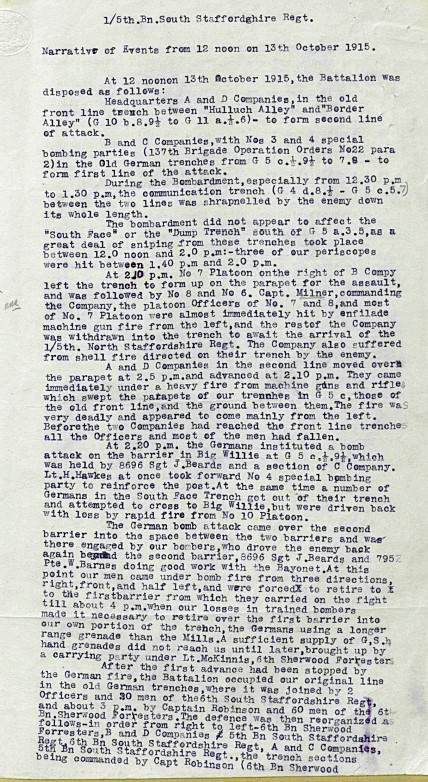 First part of the extract from the 1/5th Battalion South Staffordshire Regiment War Diary detailing their part in the attack on the Hohenzollern Redoubt that began on 13 October 1915.