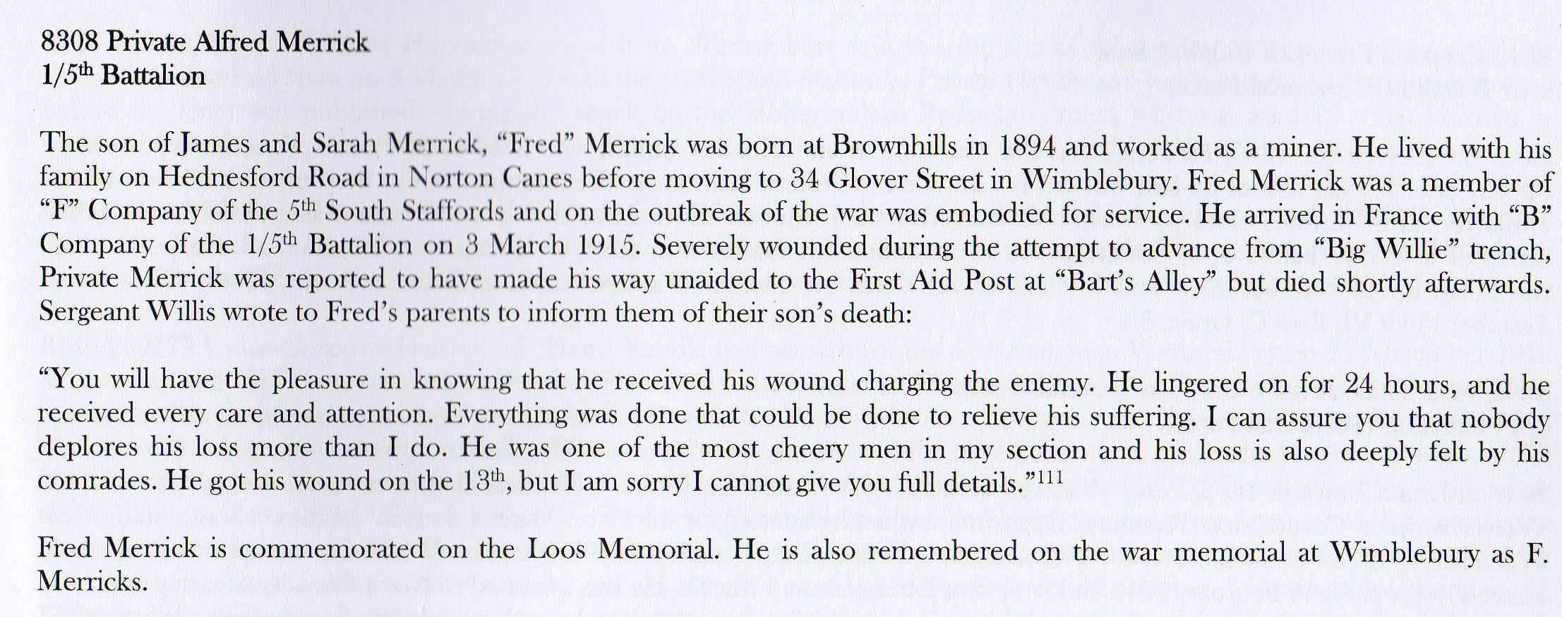 "Extract from page 159 of Andrew Thornton's book ""South Staffords at War: August 1914 – December 1915, Volume 2"""