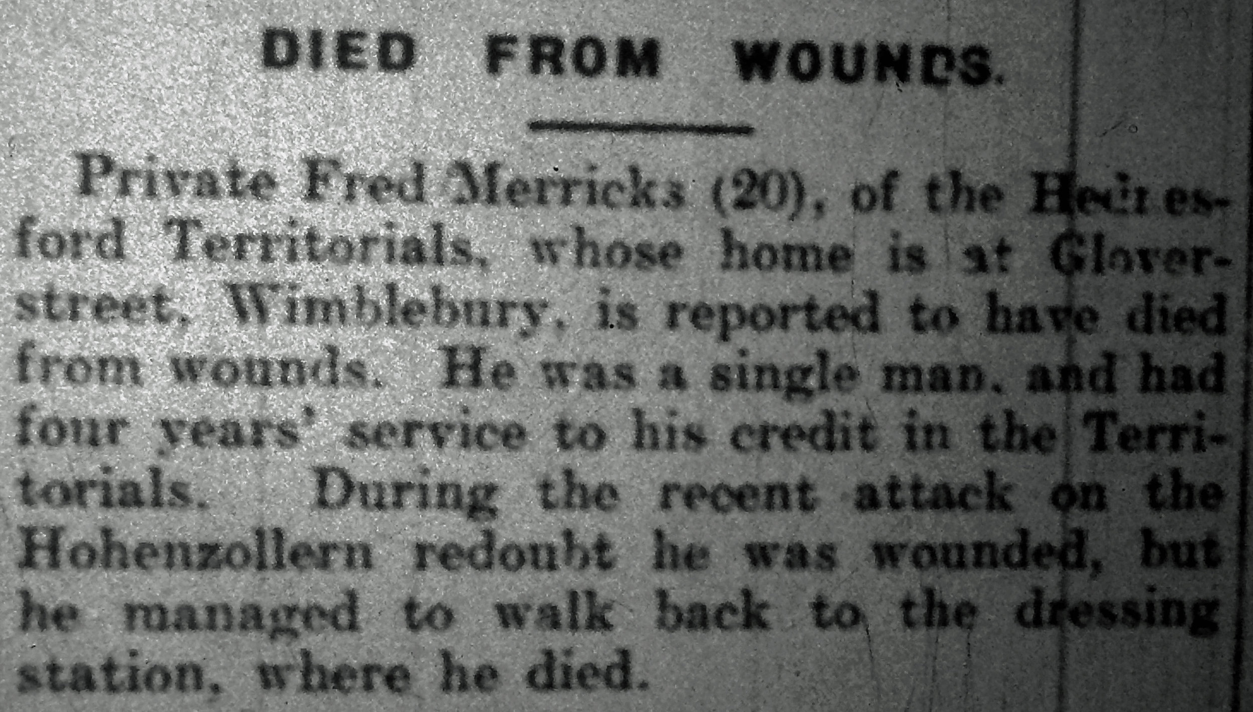 Extract from the Cannock Advertiser edition of Saturday 30 October 1915