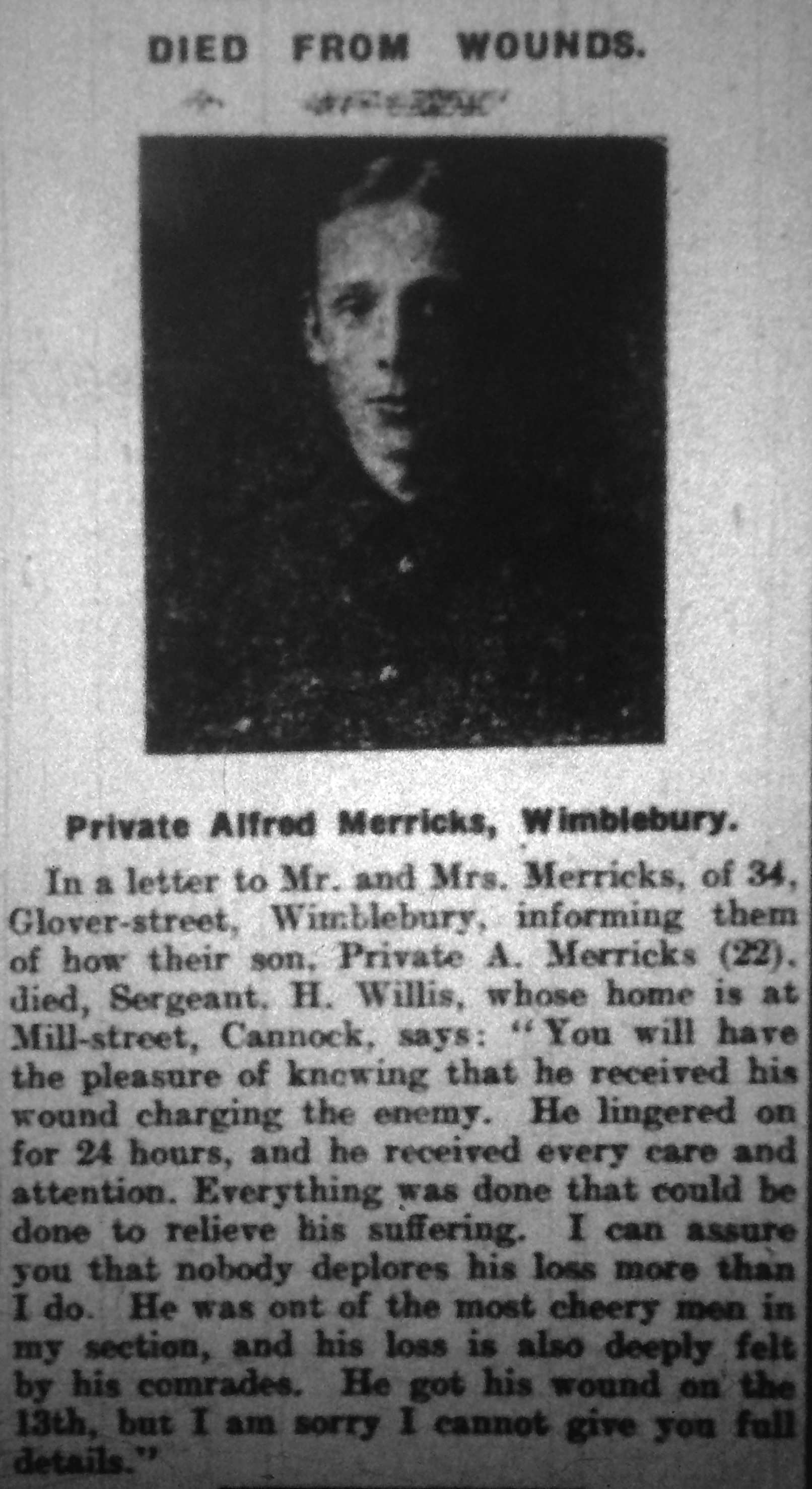 Extract from the Cannock Advertiser edition of Saturday 20 November 1915