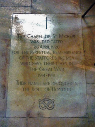 Photograph of the dedication of the Chapel of St Michael in Lichfield Cathedral