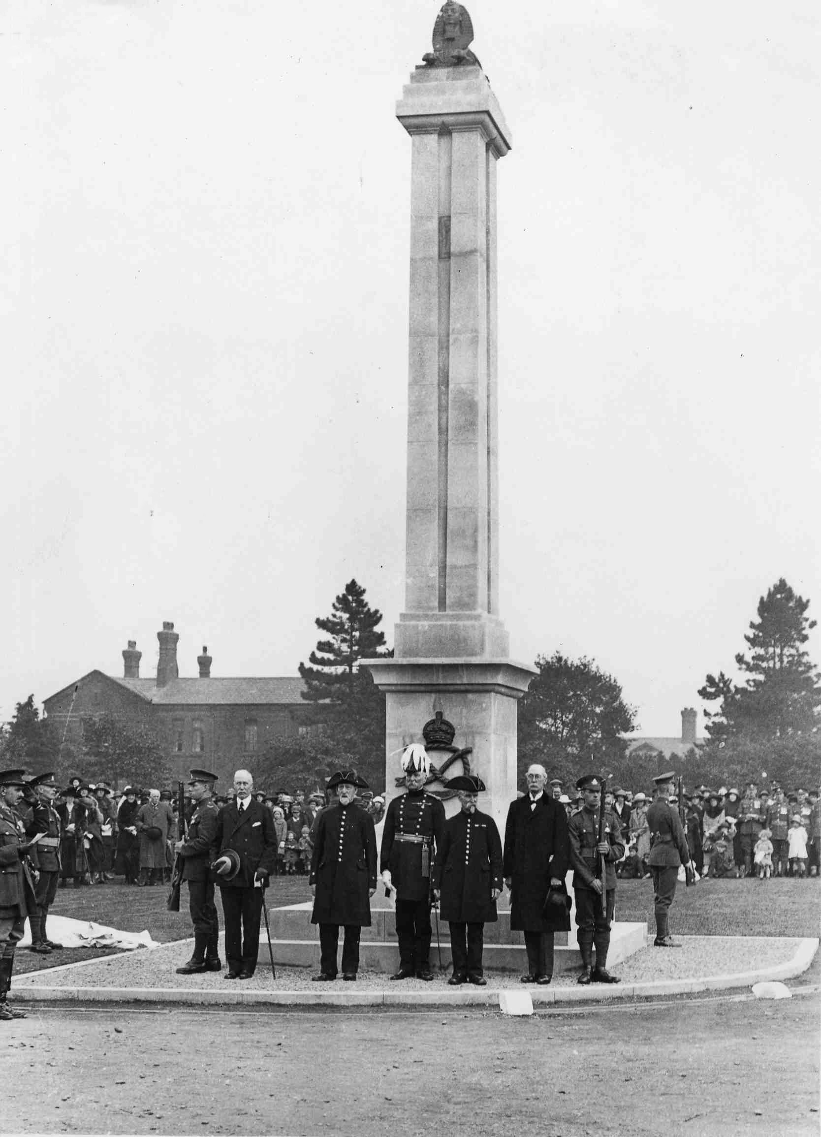 Photograph of the unveiling and dedication of the South Staffordshire Regimental War Memorial on 30 September 1922.