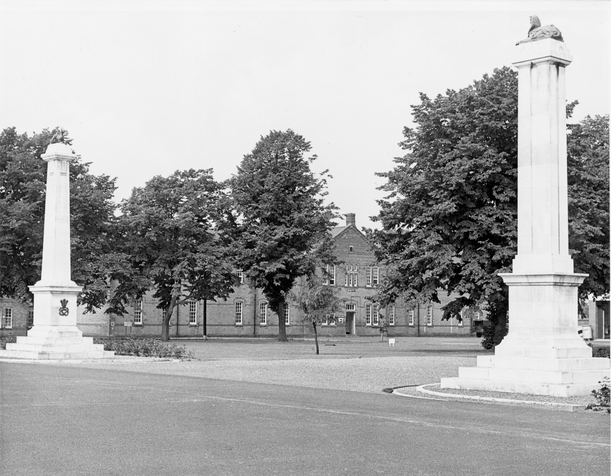 Photograph of the two regimental war memorials, the North Staffs on the left, the South Staffs on the right.