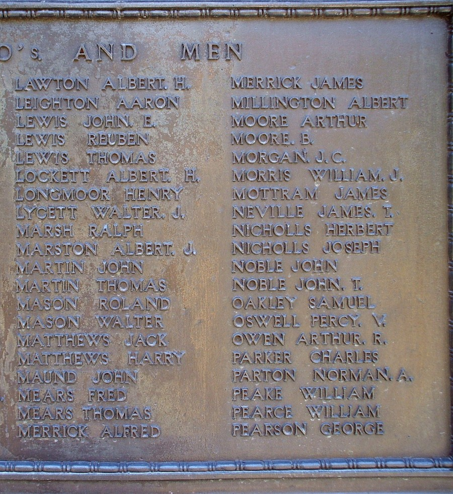 Photograph of the panel recording the names of Alfred Merrick and his brother James on the Hednesford War Memorial, Rugeley Road, Hednesford