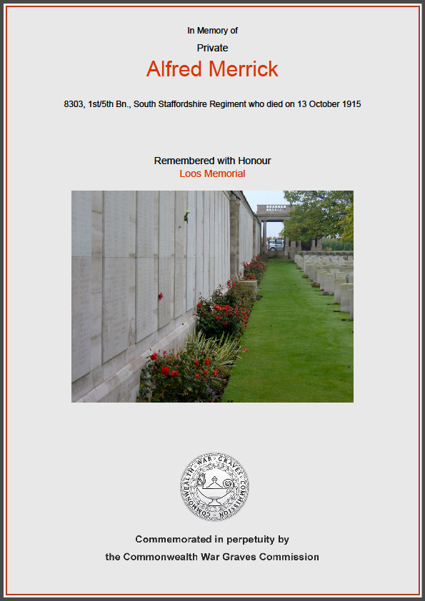 Commonwealth War Graves Commission Certificate in memory of Alfred Merrick