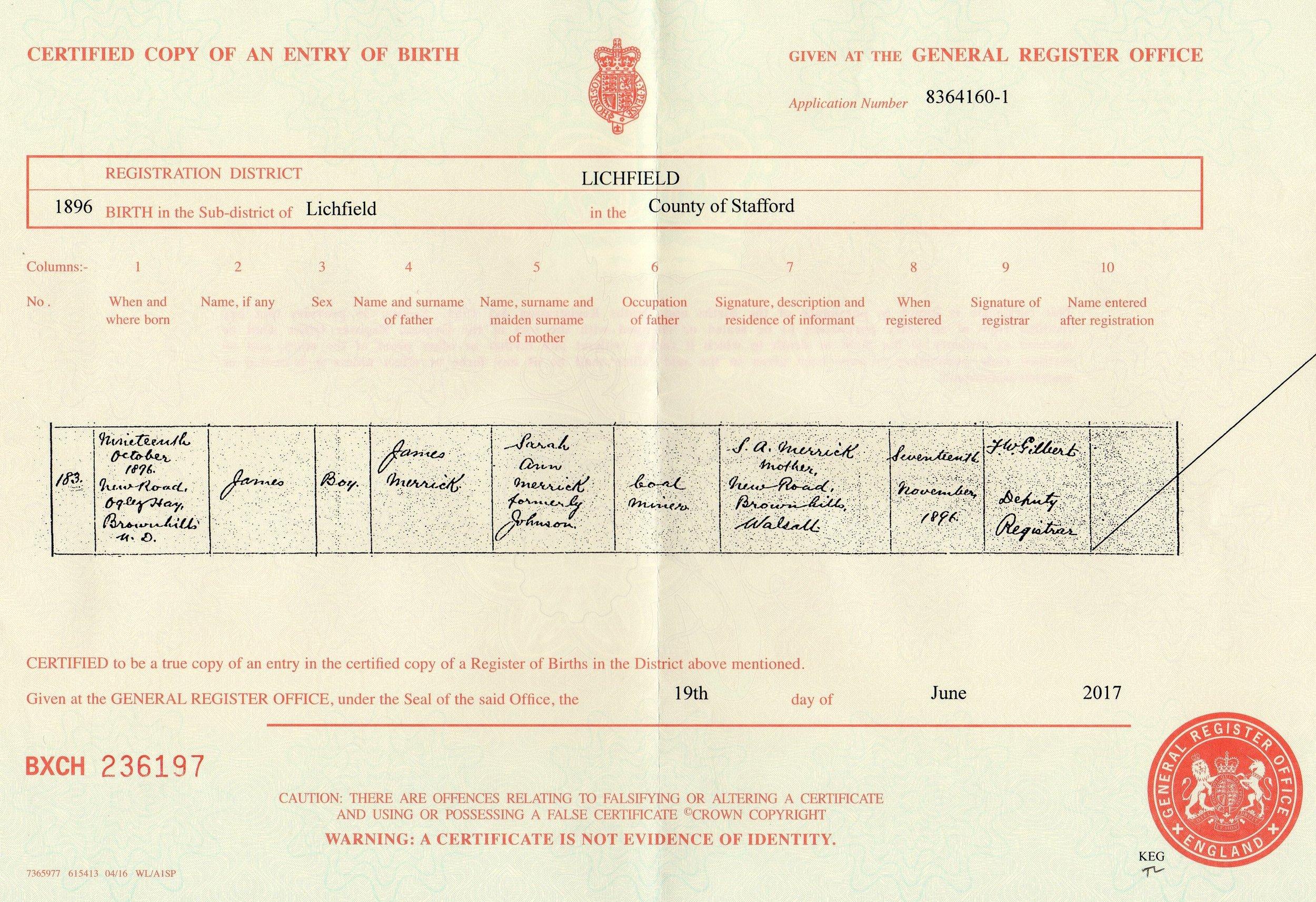 Copy of James Merrick's birth certificate