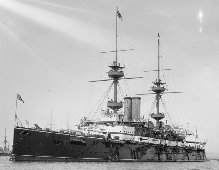 The warship HMS Magnificent at Spithead in 1899. She was converted to a troopship in 1915 for use in the Dardanelles Campaign.
