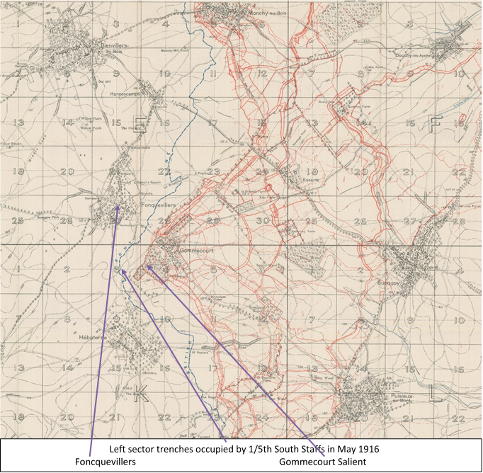 Extract from the 1:20,000, 1916 trench map 57D NE, edition 2B, showing the area around the Gommecourt Salient