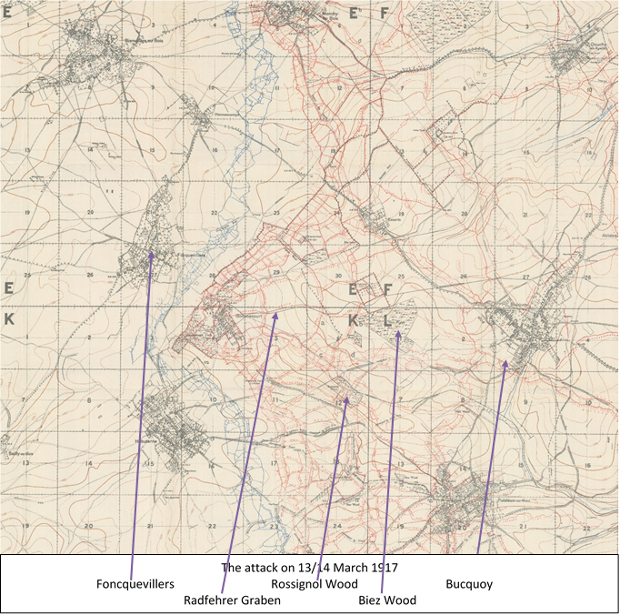 Extract from the 1:20,000, 1916 trench map 57D NE, edition 4a, showing the area around the Gommecourt Salient
