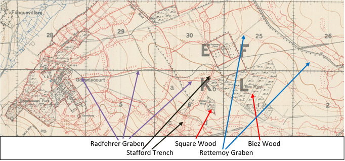 Extract from the 1:20,000, 1916 trench map 57D NE, edition 4a, showing the area around the Radfehrer Graben