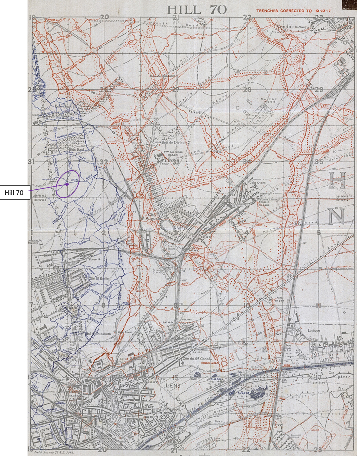Map showing the trenches in the area north of Lens and east of Hill 70.  German trenches and names are in red; British trenches and names are in blue.