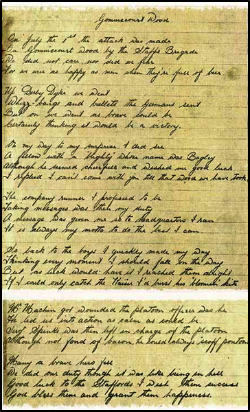 "Handwritten copy of the poem ""Gommecourt Wood"" written by 8201/200198 Drummer George Getley"