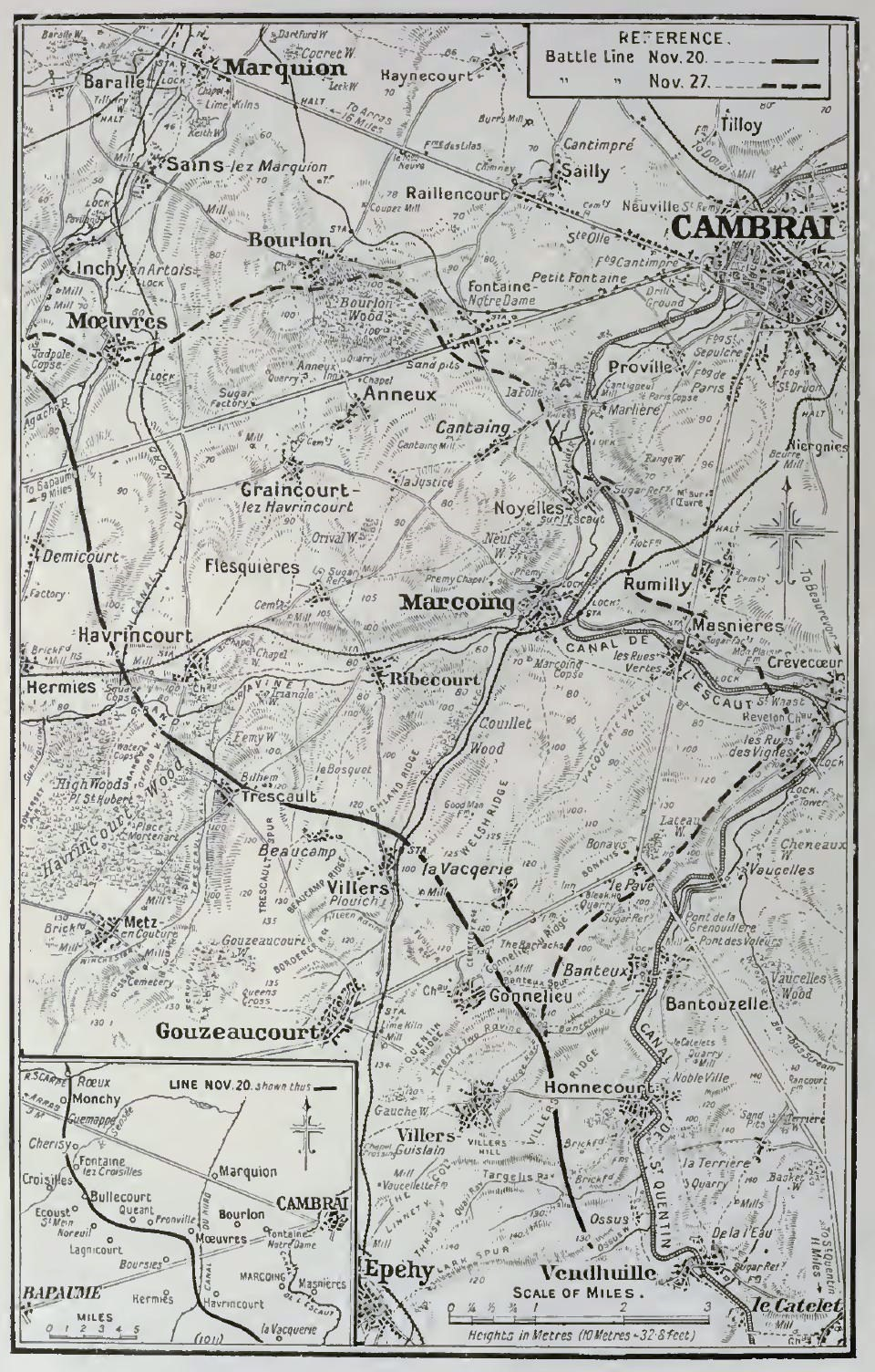 1917 map of the Cambrai area