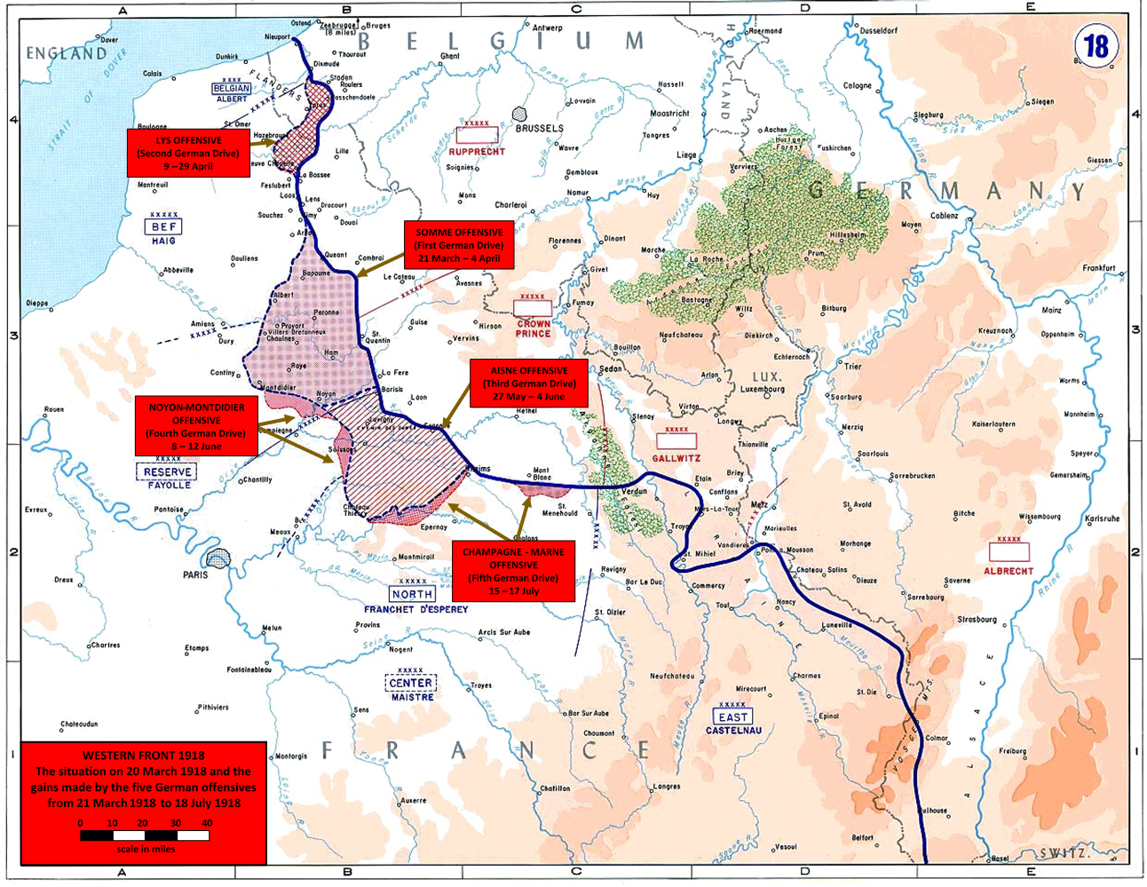 Map showing the German Spring Offensives of 1918