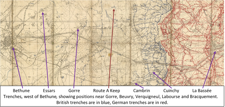 Extract from the 1:20,000 British WW1 trench map 36: Festubert - Loos Area, {trenches corrected to 6 February 1918} showing positions near Gorre, Beuvry, Verquigneul, Labourse and Bracquement. British trenches are in blue, German trenches are in red