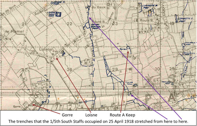 Extract from the 1:20,000 Field Company Survey Royal Engineers 6149 map of the Gorre sector showing the trenches occupied by the 1/5th South Staffs on 25 April 1918