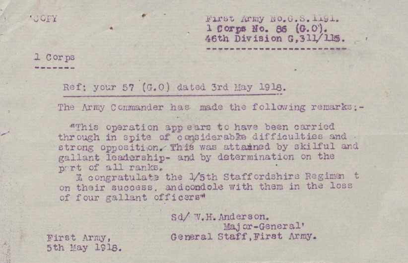 Message of congratulation to the 1/5th Battalion South Staffordshire Regiment on the recapture of Route A Keep.