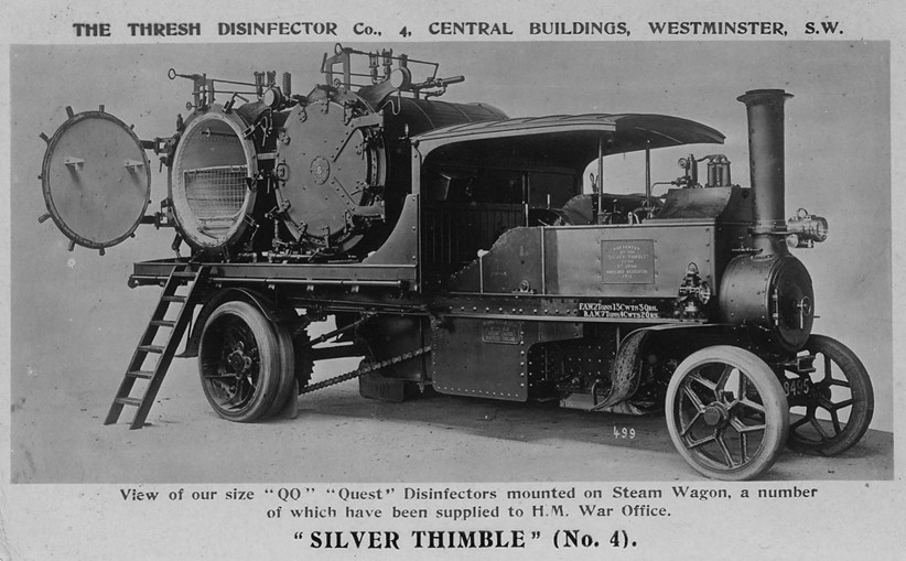 Advertising card for the Quest Disinfector from the Thresher Disinfector Company mounted on a Foden steam engine; Allied forces had 98 of these disinfectors by the end of the war in November 1918.