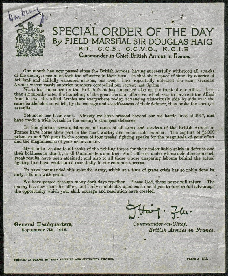 Copy of Field Marshall Haig's Special Order of the Day of 7 September 1918 .