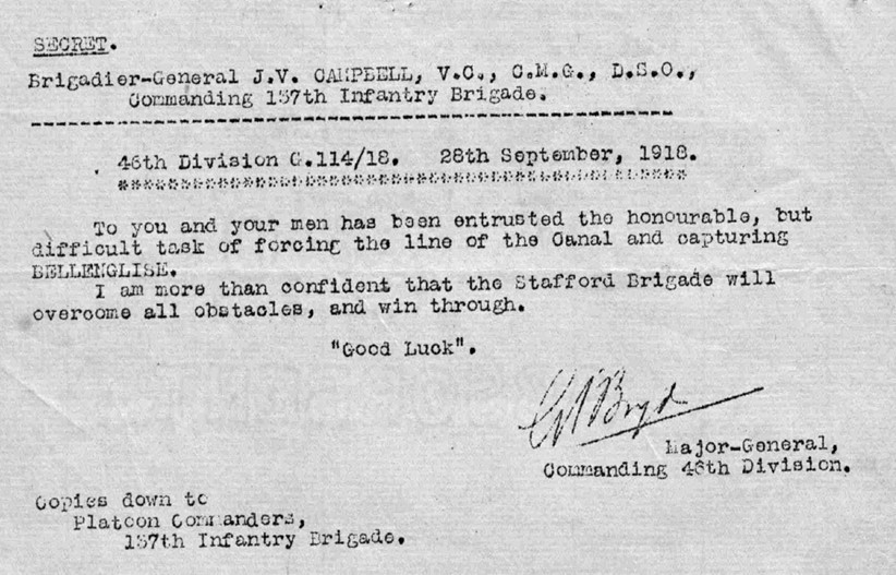 Copy of the secret message sent by the 46th Division Commanding Officer, Major-General Gerald Farrell Boyd, entrusting the 137th Infantry Brigade with the task of forcing the line of the St. Quentin Canal and capturing Bellenglise.
