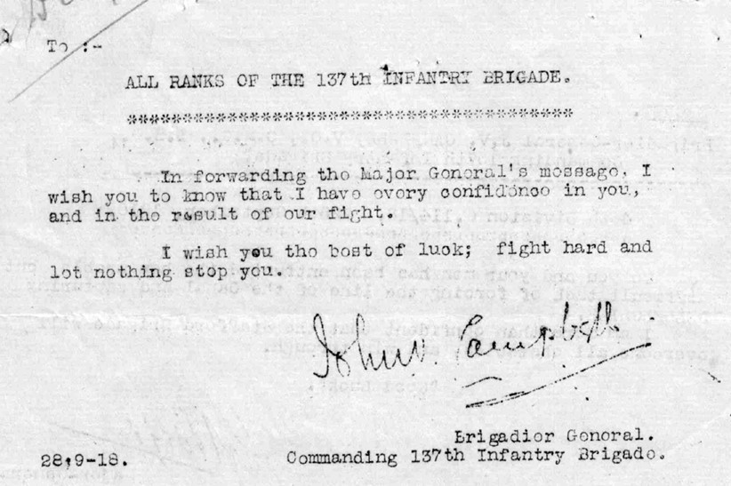 Copy of the message the Commanding Officer of the 137th Infantry Brigade, Brigadier-General John Vaughan Campbell, sent to his men passing on the message from the Major General Boyd.