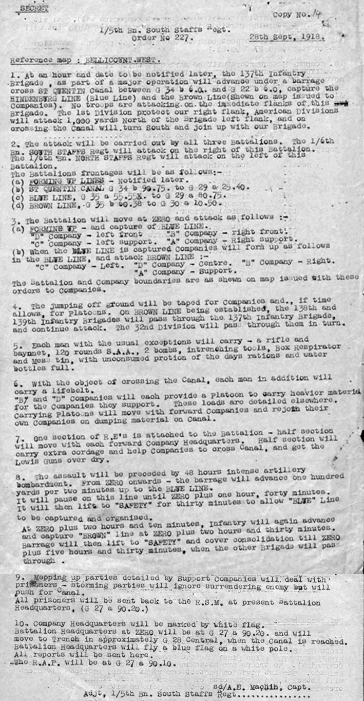 Copy of the orders issued on 28 September 1918 for the 1/5th Battalion South Staffordshire Regiment attack on the St Quentin Canal.