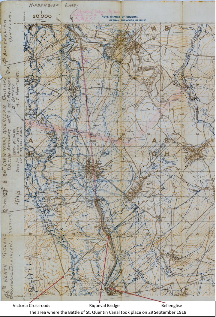 Extract from the 1:20,000 British WW1 trench map Sheet 62B NW., Edition 5a, Bellicourt, showing the area where the Battle of St. Quentin Canal took place on 29 September 1918