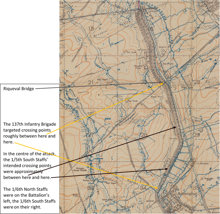 Extract from the 1:20,000 British WW1 trench map Sheet 62B NW., Edition 5a, Bellicourt, showing in greater detail the region of the St. Quentin Canal sector where the 137th Infantry Brigade crossed the canal on 29 September 1918