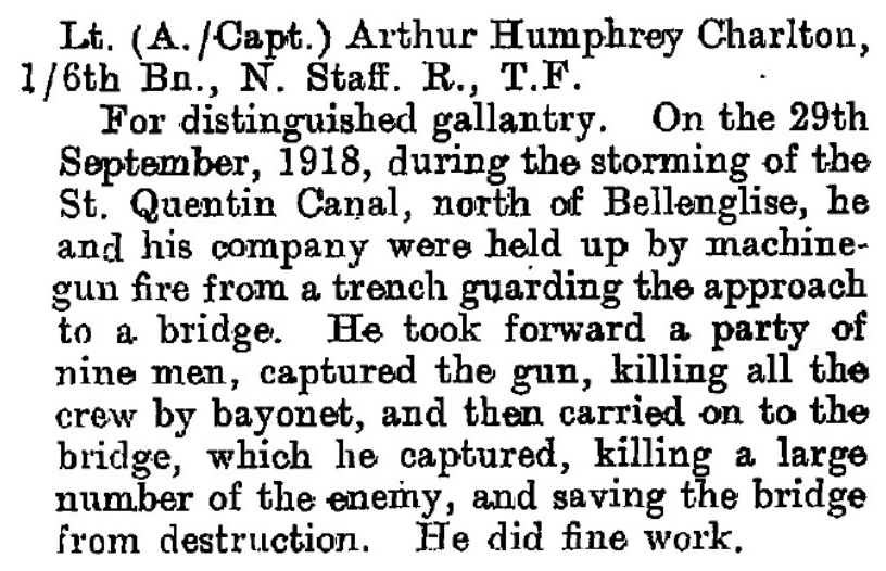 Notice of the award of the Distinguished Service Order to (Acting) Captain Arthur Humphrey Charlton of the 1/6th North Staffs