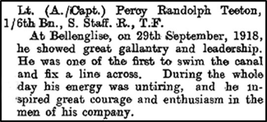 Notice of the award of the Military Cross to (Acting) Captain Percy Randolph Teeton of the 1/6th South Staffs