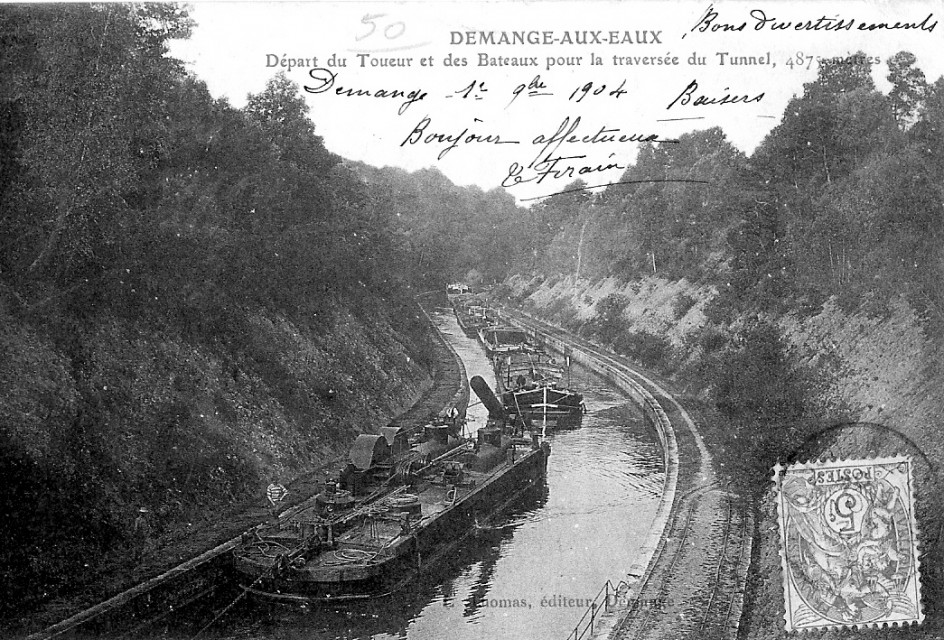 Postcard showing the St. Quentin Canal before the First World War.